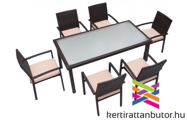 Rattan kerti étkező garnitúra nagyméretű asztallal-6 személyes