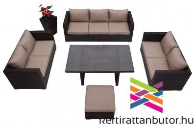 Kerti ülőgarnitúra 8 személyes, magasított asztallal, barna színű huzattal