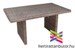 Magasított asztal-vvilágos barna rattan fonat