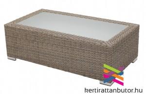 Kerti asztal homokszínű rattan fonattal