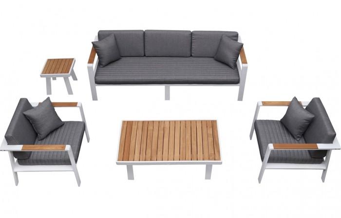 Nofi 5 személyes kerti ülőgarnitúra teakfa asztallal
