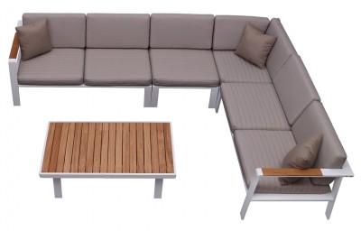 Nofi  6 személyes kerti sarokgarnitúra takfa asztallal-Higold