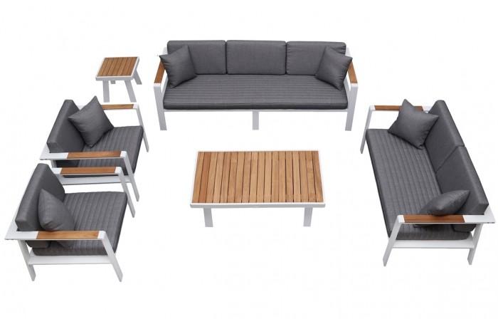 Nofi 7 személyes kerti kanapé szett teakfa asztallal-Higold