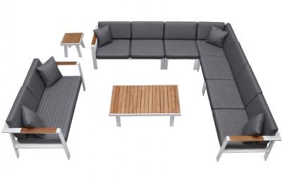 Nofi 9 személyes kerti sarokgarnitúra teakfa asztallal-Higold