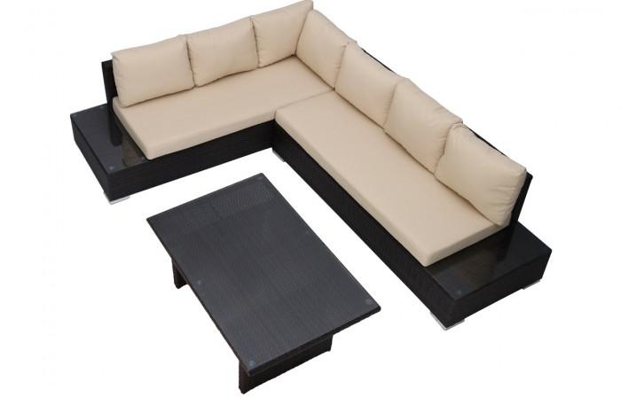 6 személyes polyrattan ülőgarnitúra magasított asztallal-Monaco