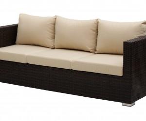 Polyrattan kanapé-három személyes