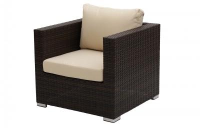 Cannes kerti bútor, 7 személyes rattan ülőgarnitúra-barna rattan fonat, világosbarna huzat, magasított asztallal