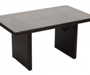 Monaco 6 személyes kerti ülőgarnitúra magasított asztallal, barna rattan fonat