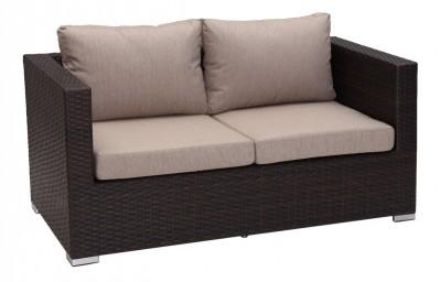 Cannes 2 személyes rattan kanapé barna párnahuzattal